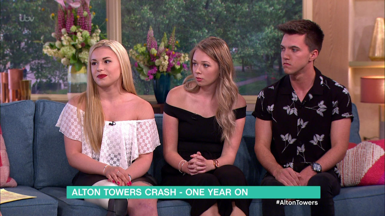 Vicky Balch, Leah Washington and Joe Pugh speaking to 'This Morning' on the first anniversary of the Smiler rollercoaster crash at Alton Towers which left all three seriously injured. Broadcast on ITV1 HD. Featuring: Vicky Balch, Leah Washington, Joe Pugh Where: United Kingdom When: 02 Jun 2016 Credit: Supplied by WENN **WENN does not claim any ownership including but not limited to Copyright, License in attached material. Fees charged by WENN are for WENN's services only, do not, nor are they intended to, convey to the user any ownership of Copyright, License in material. By publishing this material you expressly agree to indemnify, to hold WENN, its directors, shareholders, employees harmless from any loss, claims, damages, demands, expenses (including legal fees), any causes of action, allegation against WENN arising out of, connected in any way with publication of the material.**