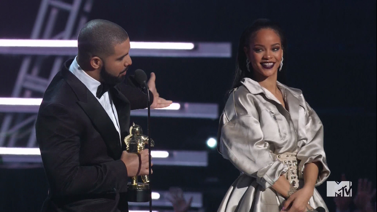 2016 MTV Video Music Awards as seen on MTV.  Drake professes his undying love for Rihanna as he gives her the video vanguard award. Featuring: Rihanna, Drake Where: United States When: 29 Aug 2016 Credit: Supplied by WENN.com **WENN does not claim any ownership including but not limited to Copyright, License in attached material. Fees charged by WENN are for WENN's services only, do not, nor are they intended to, convey to the user any ownership of Copyright, License in material. By publishing this material you expressly agree to indemnify, to hold WENN, its directors, shareholders, employees harmless from any loss, claims, damages, demands, expenses (including legal fees), any causes of action, allegation against WENN arising out of, connected in any way with publication of the material.**