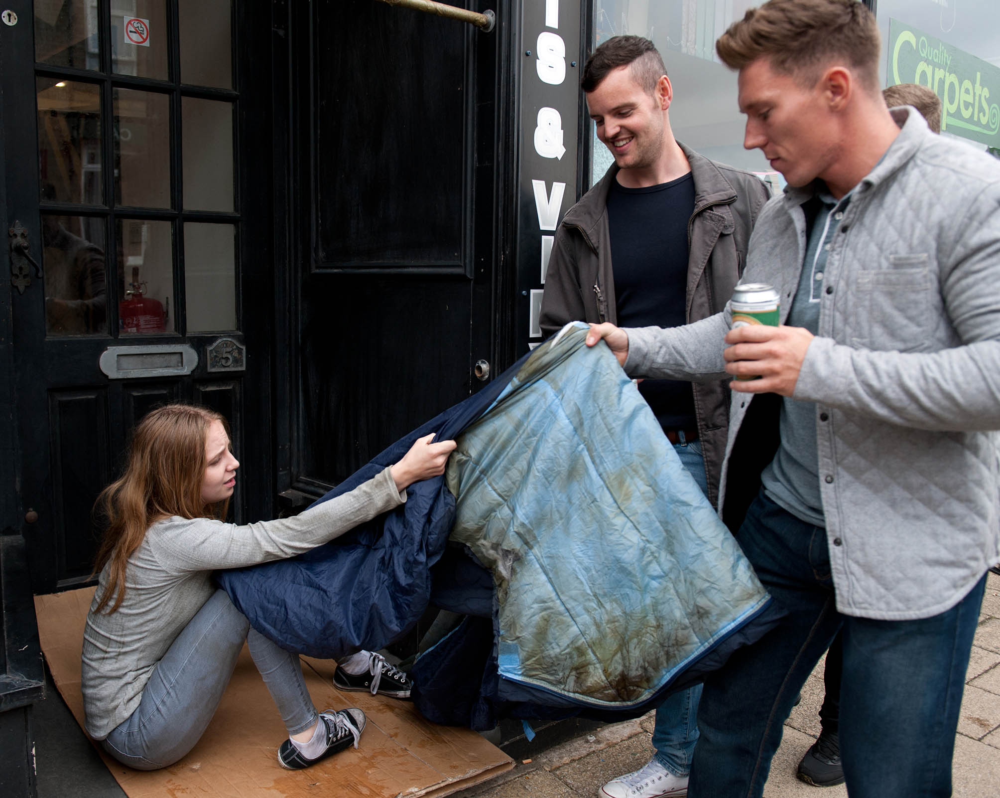 FROM ITV STRICT EMBARGO - NO USE BEFORE TUESDAY 30 AUGUST 2016 Emmerdale - Ep 7611 Thursday 8th September 2016 - 2nd Ep After picking through scraps outside a fast food place a desperate Belle Dingle [EDEN TAYLOR-DRAPER] huddles down to sleep. Some revelers steal her sleeping bag, leaving her unprotected against the cold. Picture contact: david.crook@itv.com on 0161 952 6214 Photographer - Amy Brammall This photograph is (C) ITV Plc and can only be reproduced for editorial purposes directly in connection with the programme or event mentioned above, or ITV plc. Once made available by ITV plc Picture Desk, this photograph can be reproduced once only up until the transmission [TX] date and no reproduction fee will be charged. Any subsequent usage may incur a fee. This photograph must not be manipulated [excluding basic cropping] in a manner which alters the visual appearance of the person photographed deemed detrimental or inappropriate by ITV plc Picture Desk. This photograph must not be syndicated to any other company, publication or website, or permanently archived, without the express written permission of ITV Plc Picture Desk. Full Terms and conditions are available on the website www.itvpictures.com