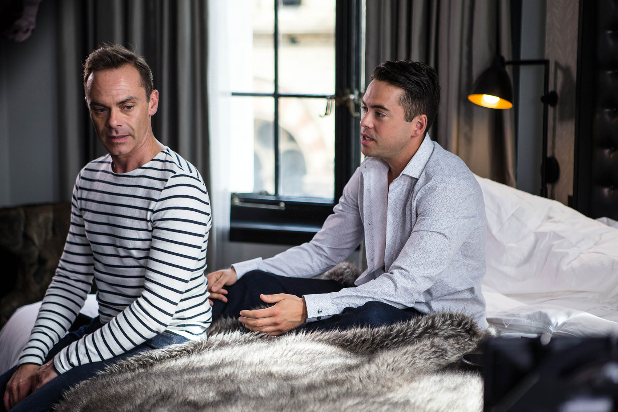 FROM ITV STRICT EMBARGO - NO USE BEFORE TUESDAY 30 AUGUST 2016 Coronation Street - Ep 8984 Monday 5 September 2016 - 2nd Ep Having arrived at the hotel, Todd Grimshaw [BRUNO LANGLEY] reveals he's booked them a double room. To Todd's delight, Billy Mayhew [DANIEL BROCKLEBANK] suggests they head straight upstairs. As Todd and Billy romp on the bed, Todd makes an ill-judged joke about Billy's religion. Billy takes offence and quickly backs off. Deeply frustrated, Todd tells Billy a relationship without sex isn't a proper relationship and storms out. Picture contact: david.crook@itv.com on 0161 952 6214 Photographer - Mark Bruce This photograph is (C) ITV Plc and can only be reproduced for editorial purposes directly in connection with the programme or event mentioned above, or ITV plc. Once made available by ITV plc Picture Desk, this photograph can be reproduced once only up until the transmission [TX] date and no reproduction fee will be charged. Any subsequent usage may incur a fee. This photograph must not be manipulated [excluding basic cropping] in a manner which alters the visual appearance of the person photographed deemed detrimental or inappropriate by ITV plc Picture Desk. This photograph must not be syndicated to any other company, publication or website, or permanently archived, without the express written permission of ITV Plc Picture Desk. Full Terms and conditions are available on the website www.itvpictures.com