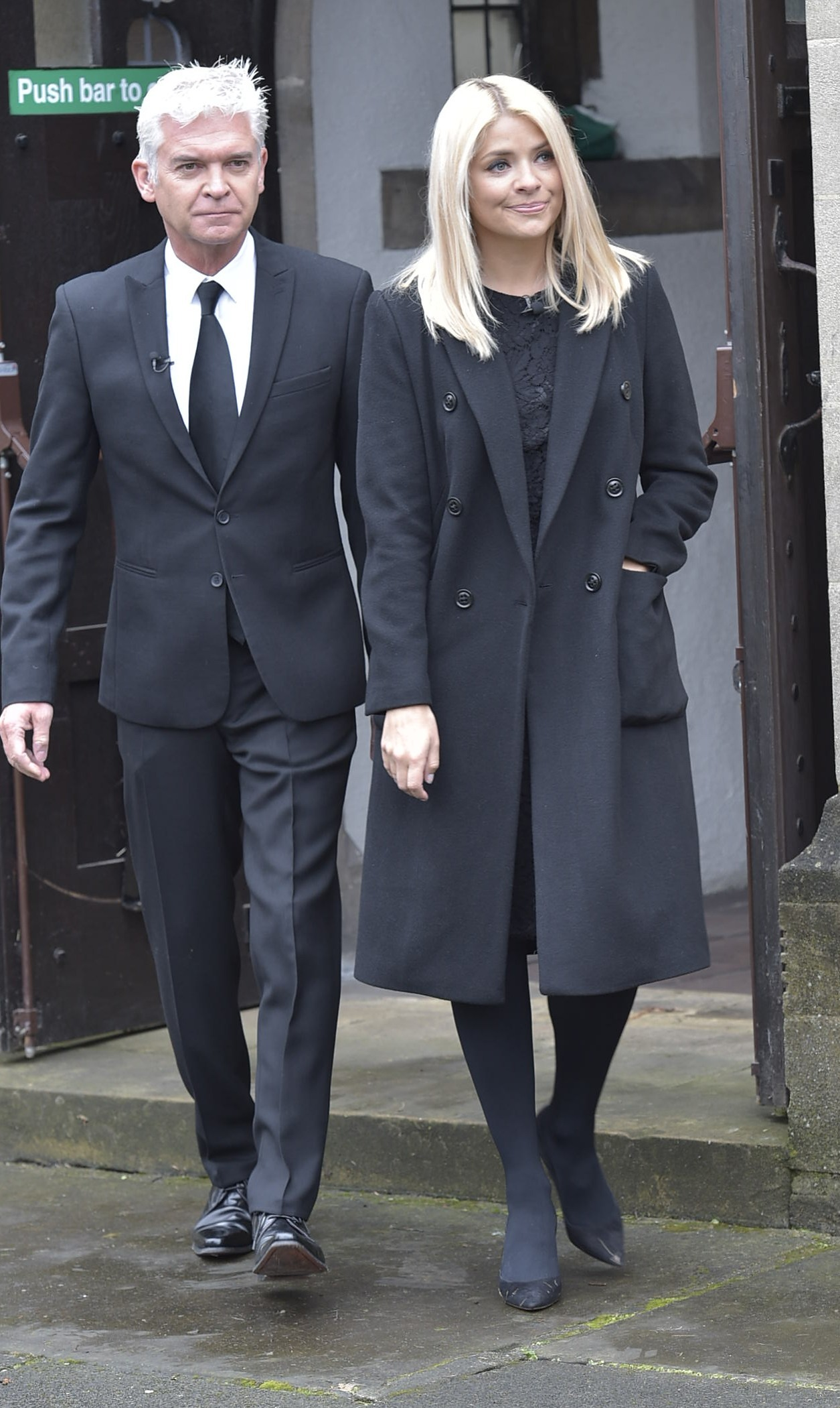 Picture Shows: Phillip Schofield, Holly Willoughby April 13, 2016 'This Morning' presenters Phillip Schofield and Holly Willoughby broadcast their popular morning show from the funeral of Denise Robertson in Sunderland, England. Non Exclusive WORLDWIDE RIGHTS Pictures by : FameFlynet UK © 2016 Tel : +44 (0)20 3551 5049 Email : info@fameflynet.uk.com