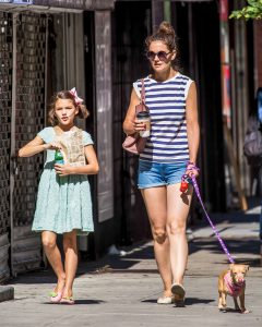 Picture Shows: Suri Cruise, Katie Holmes August 17, 2016 * Min £200 Per Pic For Mags * Katie Holmes and her daughter Suri Cruise were spotted out enjoying a day out with their chihuahua Honey, getting coffee and doughnuts in New York City, New York. It has been reported that Suri's famous father Tom Cruise has not seen or contacted his daughter in about about three years. * Min £200 Per Pic For Mags * Exclusive All Rounder UK RIGHTS ONLY Pictures by : FameFlynet UK © 2016 Tel : +44 (0)20 3551 5049 Email : info@fameflynet.uk.com