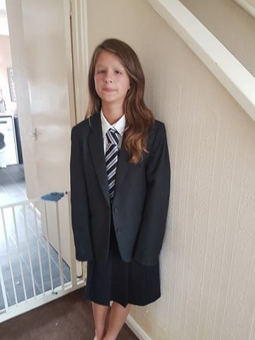 Lucy Wood, 11, made to take her socks off as she went into Hartsdown Academy because they were white - nothing in uniform policy about having white socks. Lucy's feet were left bleeding as a result.