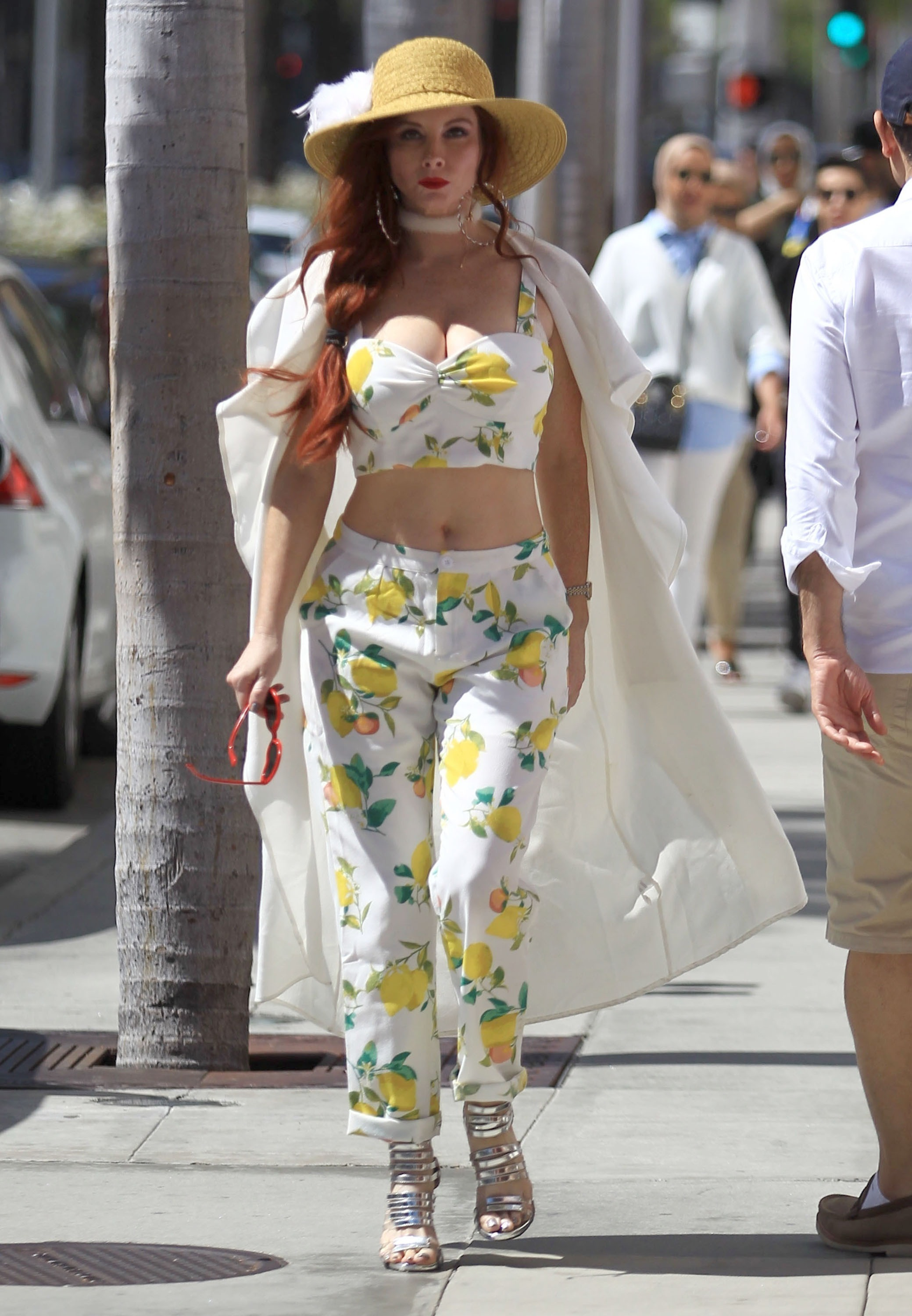 Picture Shows: Phoebe Price September 08, 2016 Actress Phoebe Price is spotted out and about in Beverly Hills, California. Phoebe was wearing a lemon print top with matching pants, accessorised with a wide-brim yellow hat and silver heels. Non Exclusive UK RIGHTS ONLY Pictures by : FameFlynet UK © 2016 Tel : +44 (0)20 3551 5049 Email : info@fameflynet.uk.com