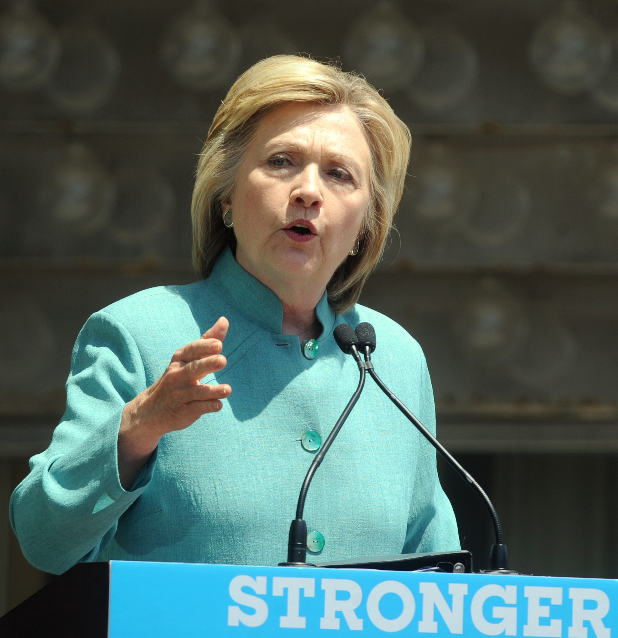 Picture Shows: Hillary Clinton July 06, 2016 Presumptive Democratic presidential nominee Hillary Clinton speaks at the podium at Boardwalk Hall Arena in Atlantic City, New Jersey. Non-Exclusive UK RIGHTS ONLY Pictures by : FameFlynet UK © 2016 Tel : +44 (0)20 3551 5049 Email : info@fameflynet.uk.com