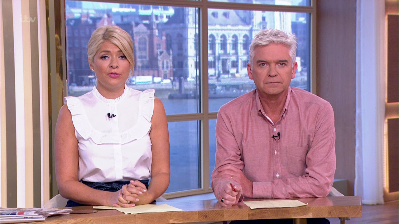 This Morning. Broadcast on ITV1HD Featuring: Phillip Schofield, Holly Willoughby When: 15 Sep 2016 Credit: Supplied by WENN **WENN does not claim any ownership including but not limited to Copyright, License in attached material. Fees charged by WENN are for WENN's services only, do not, nor are they intended to, convey to the user any ownership of Copyright, License in material. By publishing this material you expressly agree to indemnify, to hold WENN, its directors, shareholders, employees harmless from any loss, claims, damages, demands, expenses (including legal fees), any causes of action, allegation against WENN arising out of, connected in any way with publication of the material.**