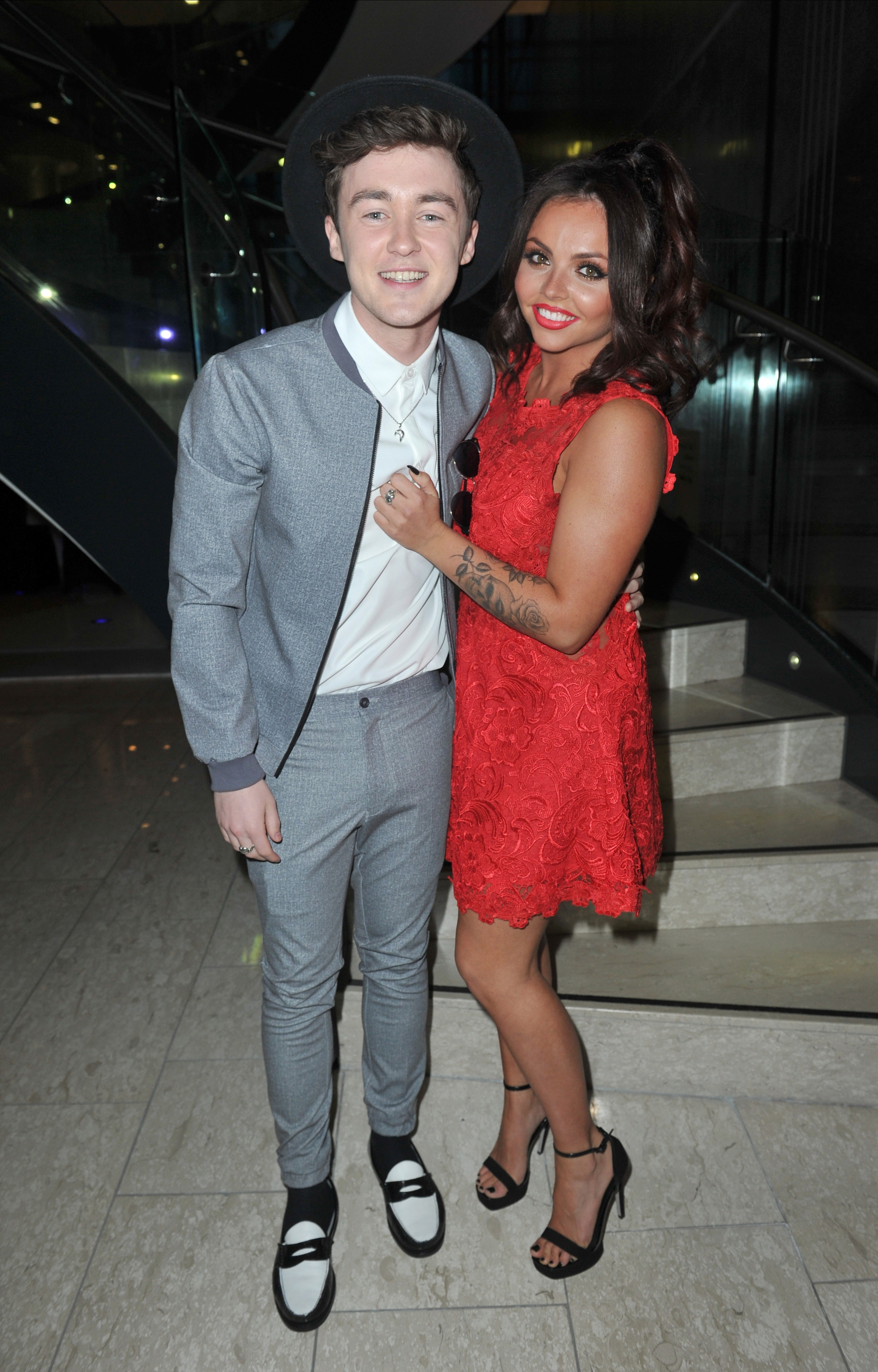 Picture Shows: Jake Roche, Jesy Nelson May 02, 2015 'Little Mix' singer Jesy Roche and boyfriend Jake Roche arrive at the Once Upon A Smile charity dinner at the Hilton Hotel in Manchester, UK. Jesy cuddled up to Jake, a member of Rixton, in a red lace mini-dress with a pair of black strappy heels. Non Exclusive WORLDWIDE RIGHTS Pictures by : FameFlynet UK © 2015 Tel : +44 (0)20 3551 5049 Email : info@fameflynet.uk.com