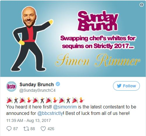 Sunday Brunch presenter Simon Rimmer joins Strictly Come Dancing line-up