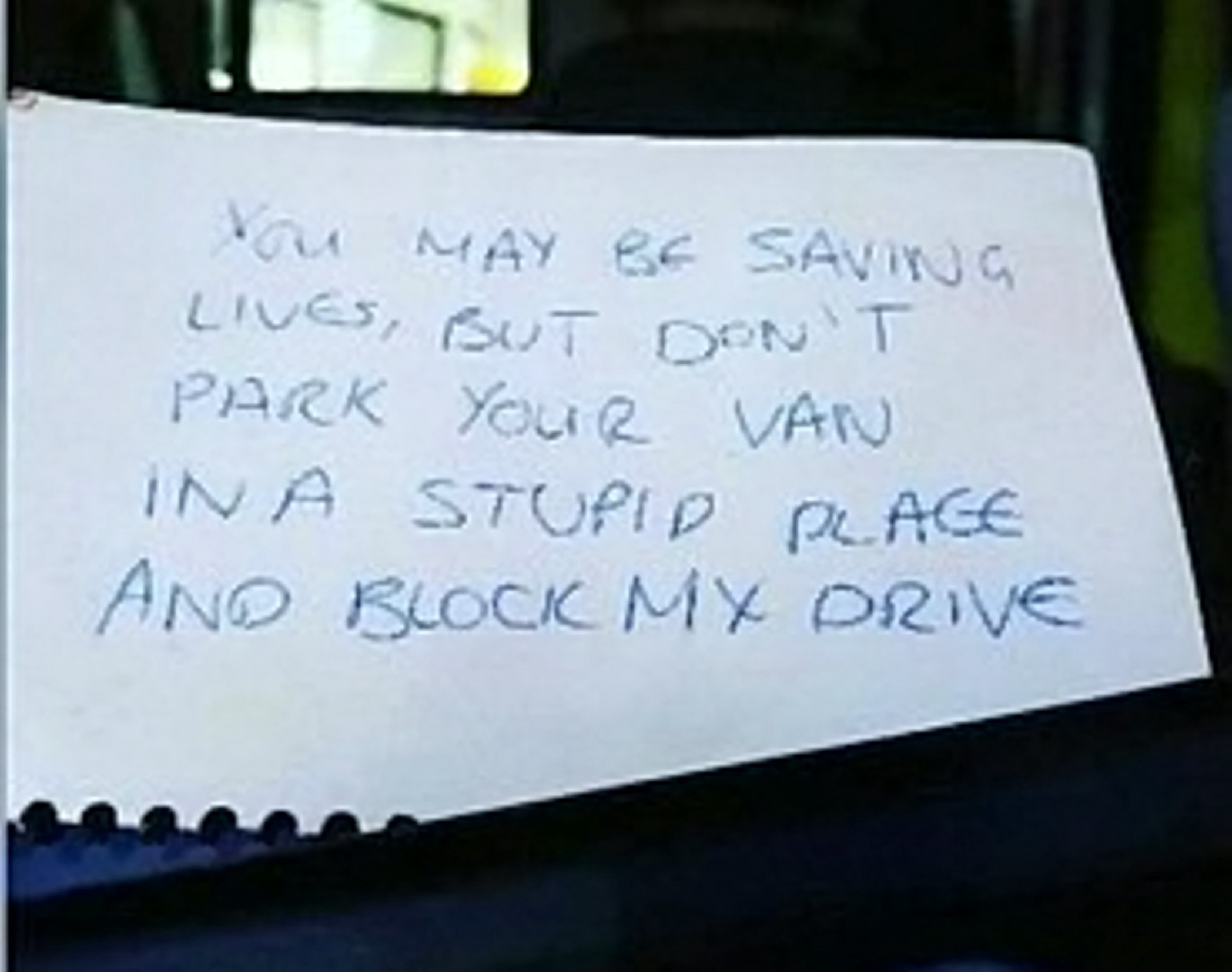 Family 'horrified' by note left on ambulance windshield dealt further blow as patient dies