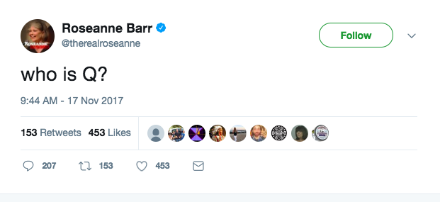 Roseanne tweets about Q. (Credit: Twitter)