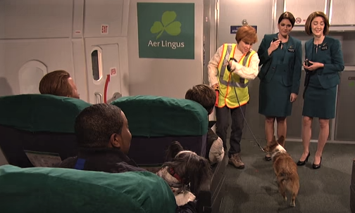 Saturday Night Live stirred up controversy on Dec. 2, 2017, with a skit about Aer Lingus Airlines (Credit: Saturday Night Live/YouTube)