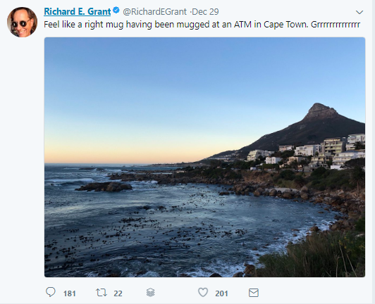 Actor Richard E Grant 'mugged' in Cape Town