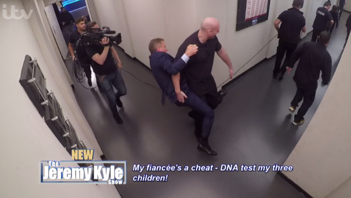 Viewers roar with laughter as Jeremy Kyle 'breaks wrist' in comedy tumble
