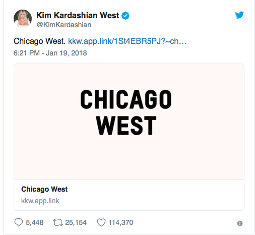 Kim and Kanye name their third daughter Chicago