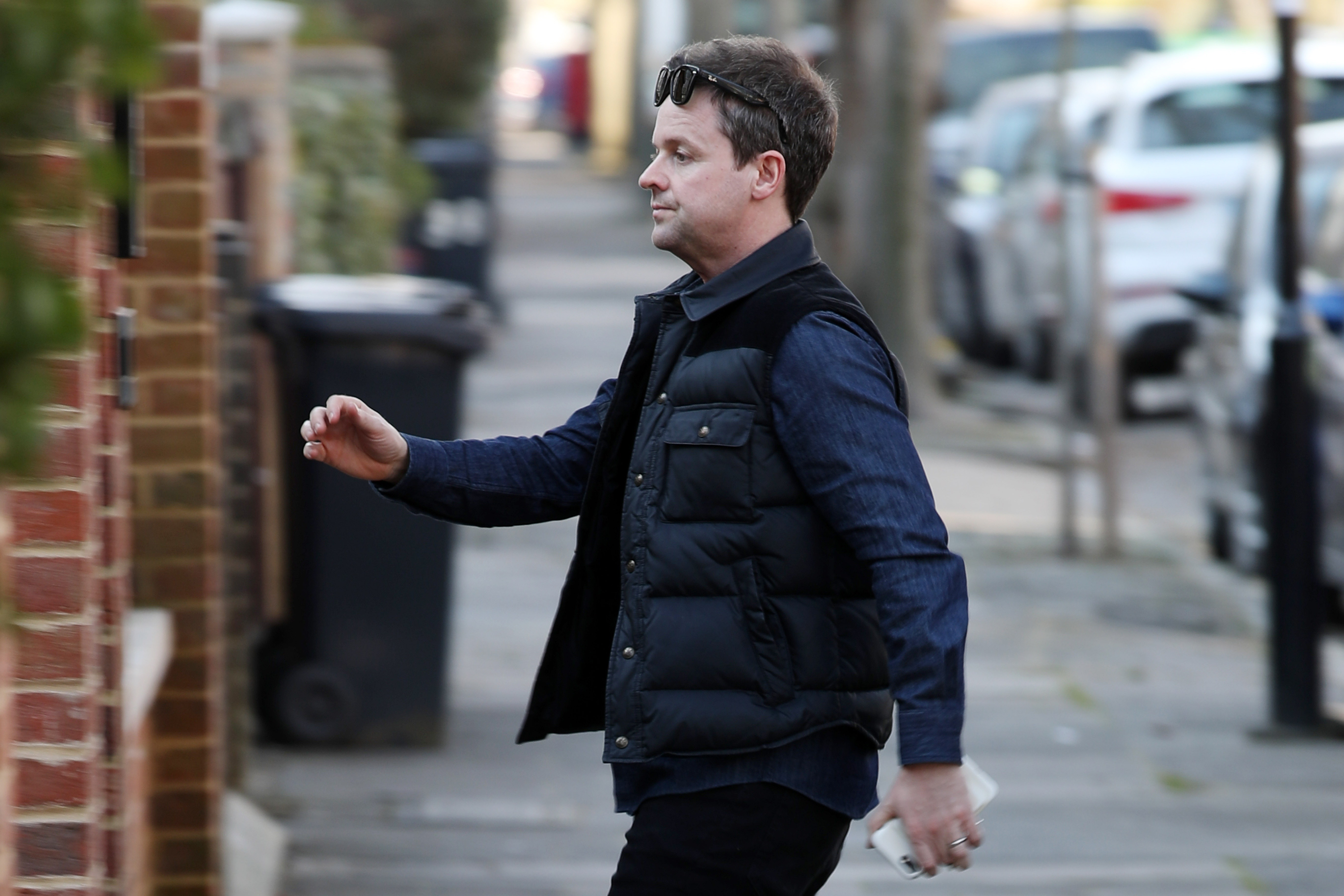 Declan Donnelly pictured arriving at Ant McPartlin's home after police visit
