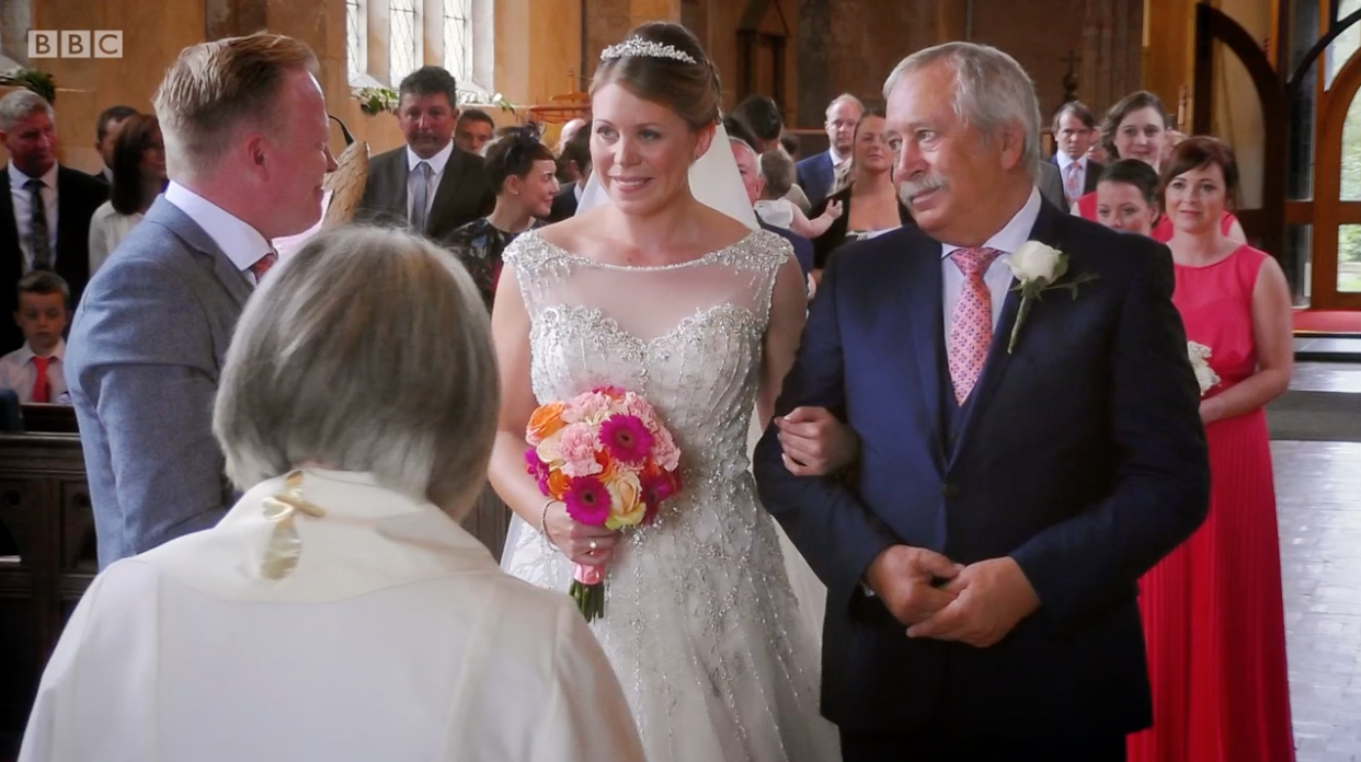 Viewers moved to tears as groom left blind by double stroke when he SNEEZED gives bride perfect wedding