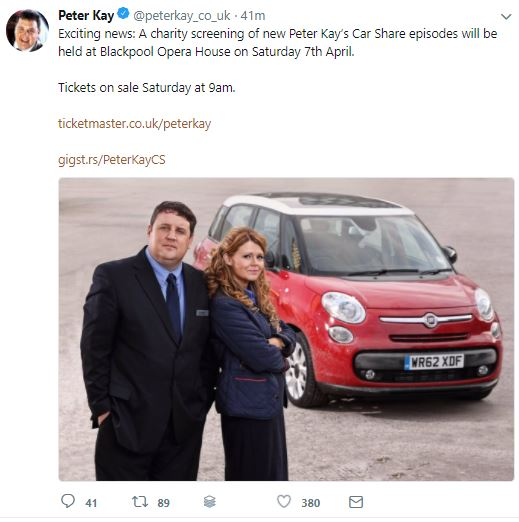 Peter Kay tweets for the first time since cancelling 100-date tour