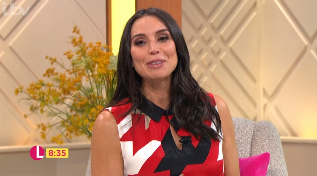Pregnant Christine Lampard dazzles in red printed maternity dress