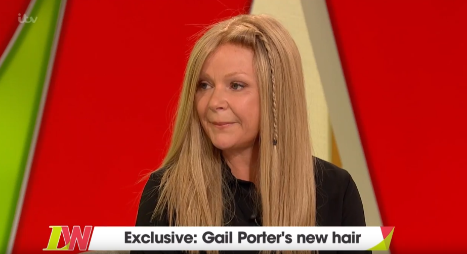 Gail Porter cries on TV as she wears a wig for first time in 13 years