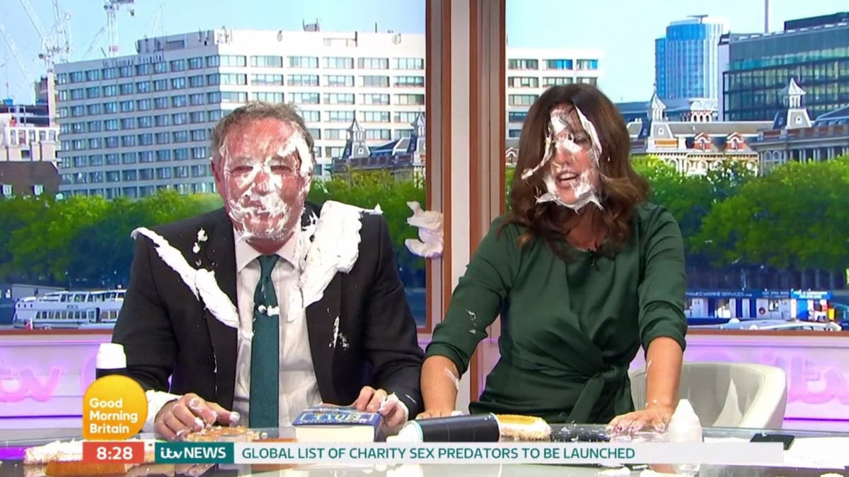 Piers Morgan and Susanna Reid get pied in the face amid heated debate