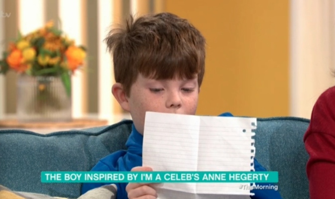 I'm A Celebrity's Anne Hegerty receives letter from young boy with autism