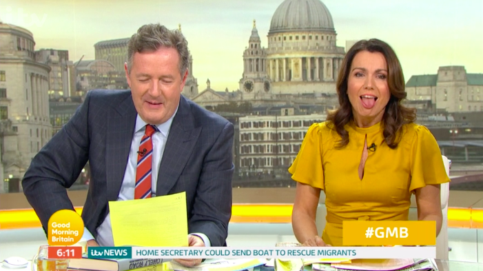"Susanna Reid gags as Piers Morgan reads fan fiction about them ""kissing"""