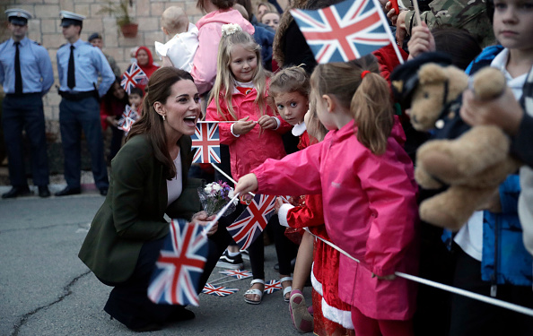 The duchess greets children in Cyprus