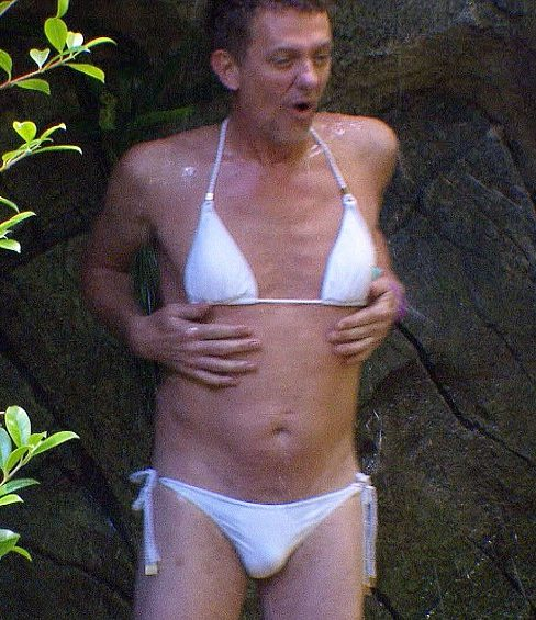 995488d726 Matthew slipped into a white bikini so he could have his very own Myleene  Klass moment.