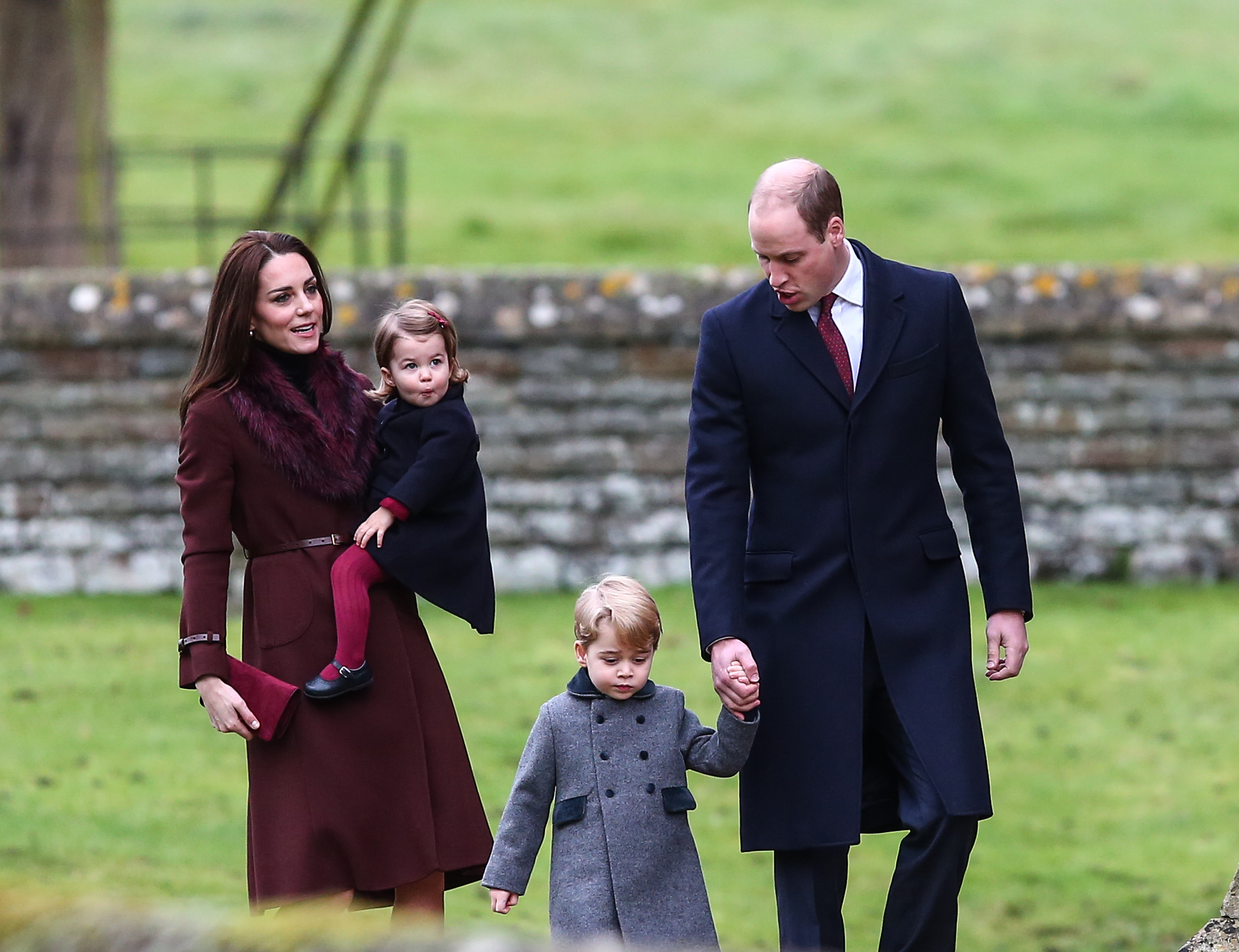 The Duke and Duchess of Cambridge arrive at St Marks Englefield with Prince George and Princess Charlotte. The family were also accompanied by Michael and Carol Middleton, James Middleton, Pippa Middleton and her fiance James Matthews. Featuring: Prince William, Duke of Cambridge, Catherine Duchess of Cambridge, Kate Middleton, Prince George, Princess Charlotte Where: Englefield, United Kingdom When: 25 Dec 2016 Credit: WENN.com