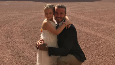 David Beckham gets Harper started on her future career early - and fans are impressed!