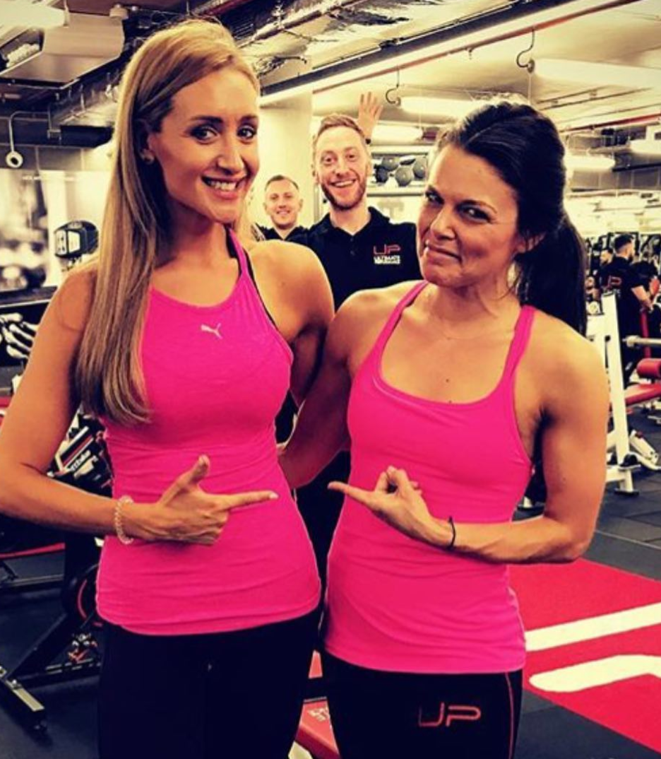 Catherine Tyldesley shared this funny picture of her and Faye Brooks dressed the same at the gym