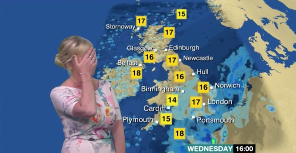 BBC weather woman red-faced after making basic error on this morning's show