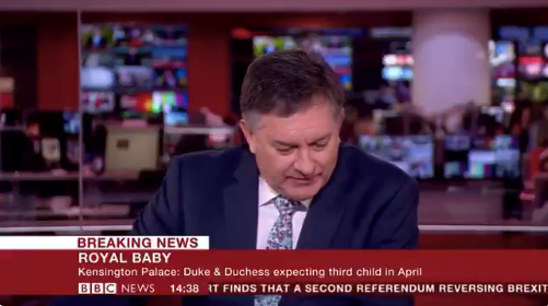 BBC newsreader's reaction to Kate and Will's baby update is hilarious