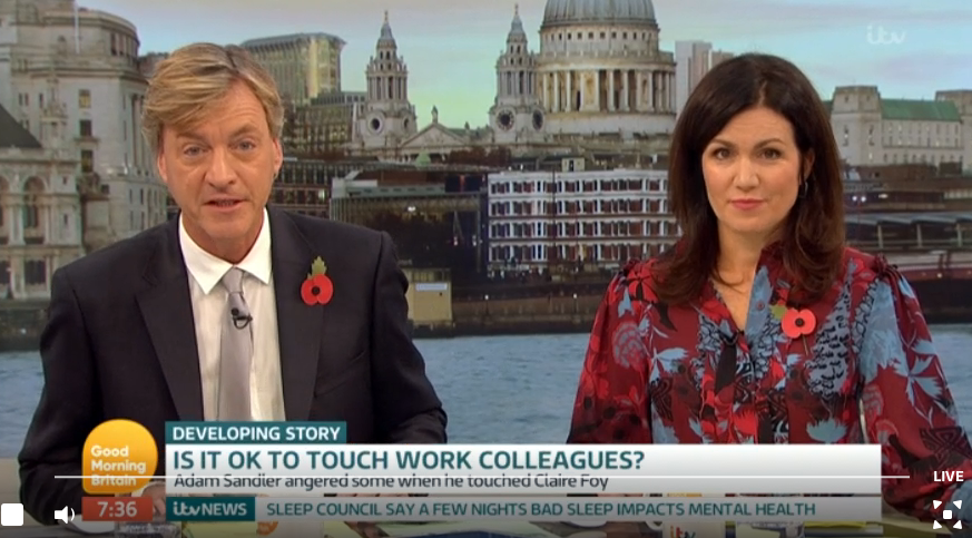 Hot topic of the day: Is touching colleagues EVER appropriate?
