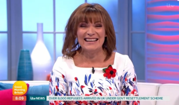 Lorraine Kelly blushes to discover celebrity guest has a crush on her