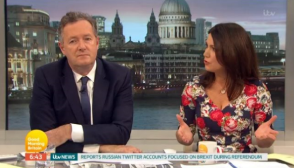 Rival presenter forced to enter GMB studio to resolve 'tiff' between Piers Morgan and Susanna Reid