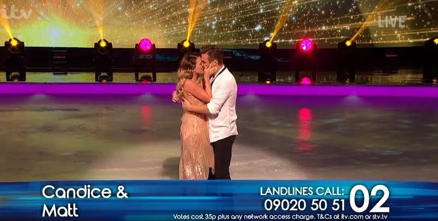 Matt Evers Candice Brown Dancing On ICe kiss (Credi: ITV)