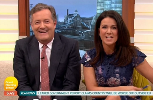 Piers Morgan makes Susanna Reid blush by describing her taste in men