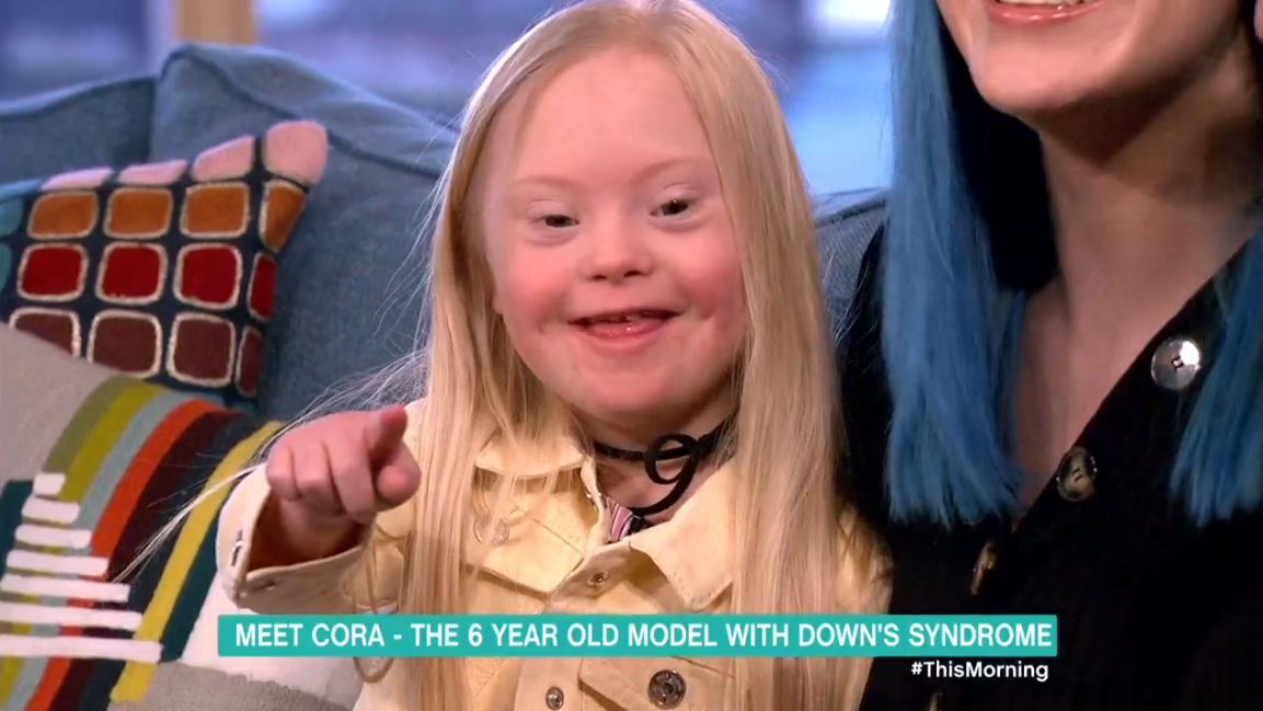 This Morning viewers' hearts melted by smile of adorable child model Cora as she catches herself on TV