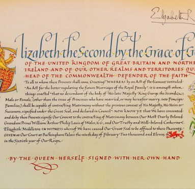 kate and William Wedding Consent