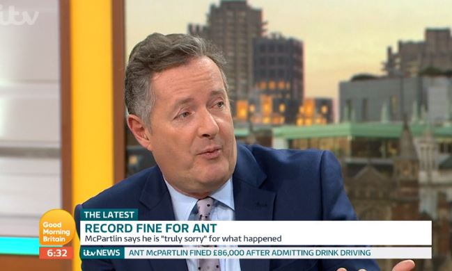 Piers Morgan addresses Ant McPartlin's drink-drive fine and ban
