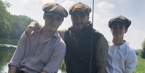 David Beckham enjoys fishing trip with Brooklyn and Romeo