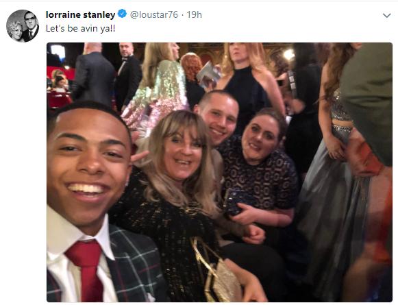 Lorraine Stanley tweet at British Soap Awards
