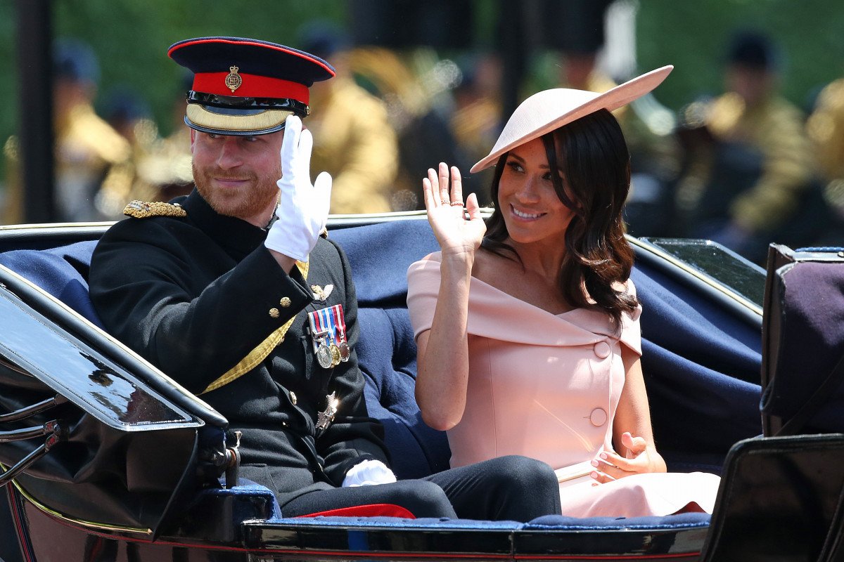 Prince Harry and Meghan, The Duke and Duchess of Sussex at Trooping The Colour ceremony marking the Queen's 92nd Birthday