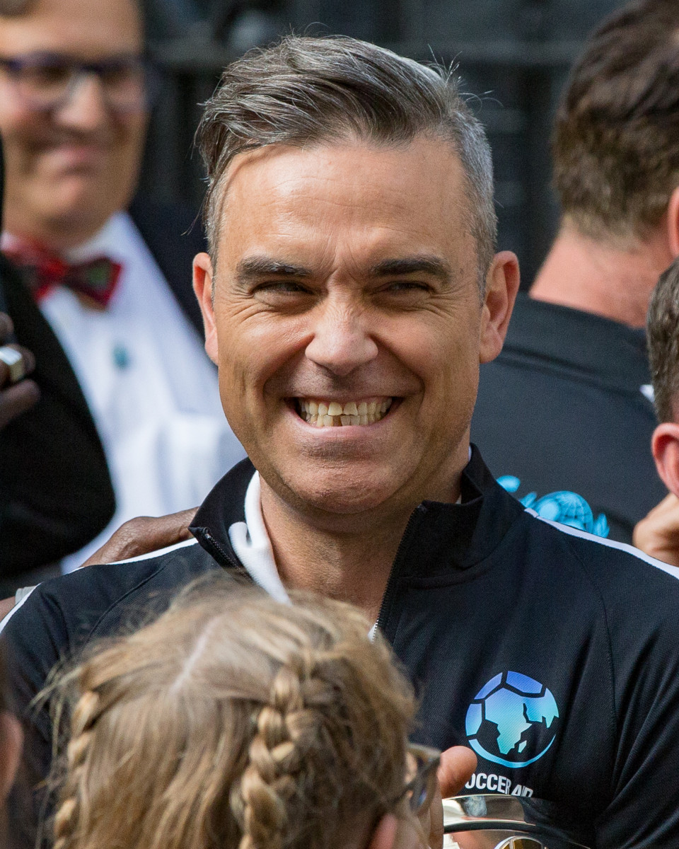 Robbie Williams attends reception at Downing Street, hosted by the Prime Minister, supporting Soccer Aid for Unicef.