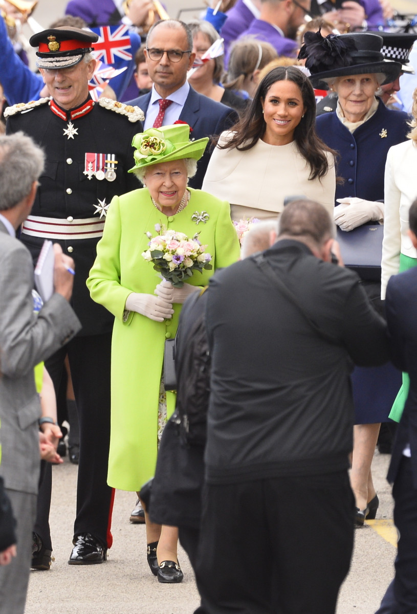 The Queen, The Duchess of Sussex, monarch is accompanied by The Duchess on a visit to Cheshire on their first official Royal engagement together.