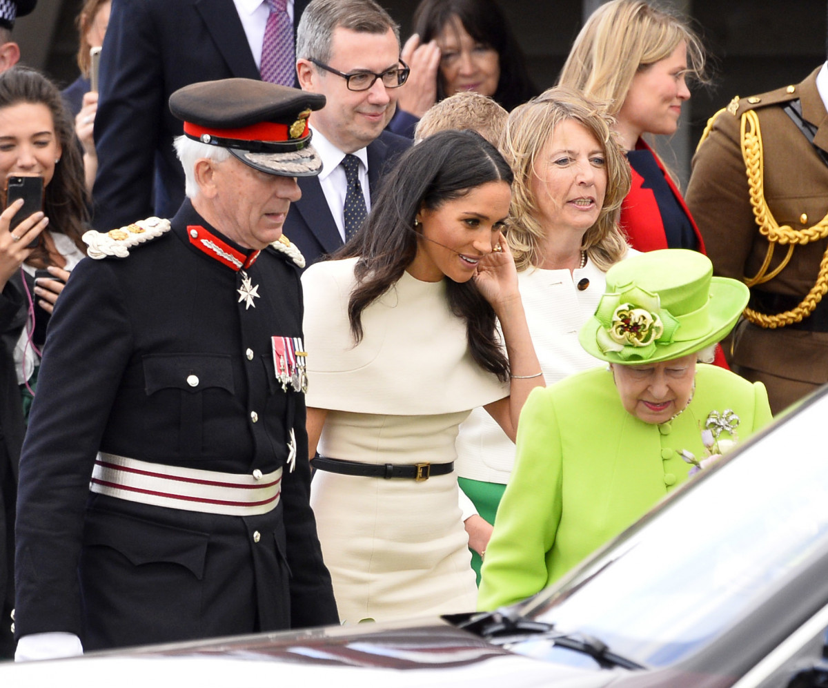 The Queen, The Duchess of Sussex, monarch is accompanied by The Duchess on a visit to Cheshire on their first official Royal engagement together