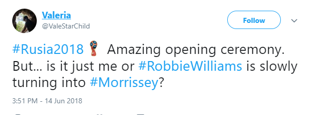 Tweets about Robbie Williams performing at World Cup (Credit: Twitter)