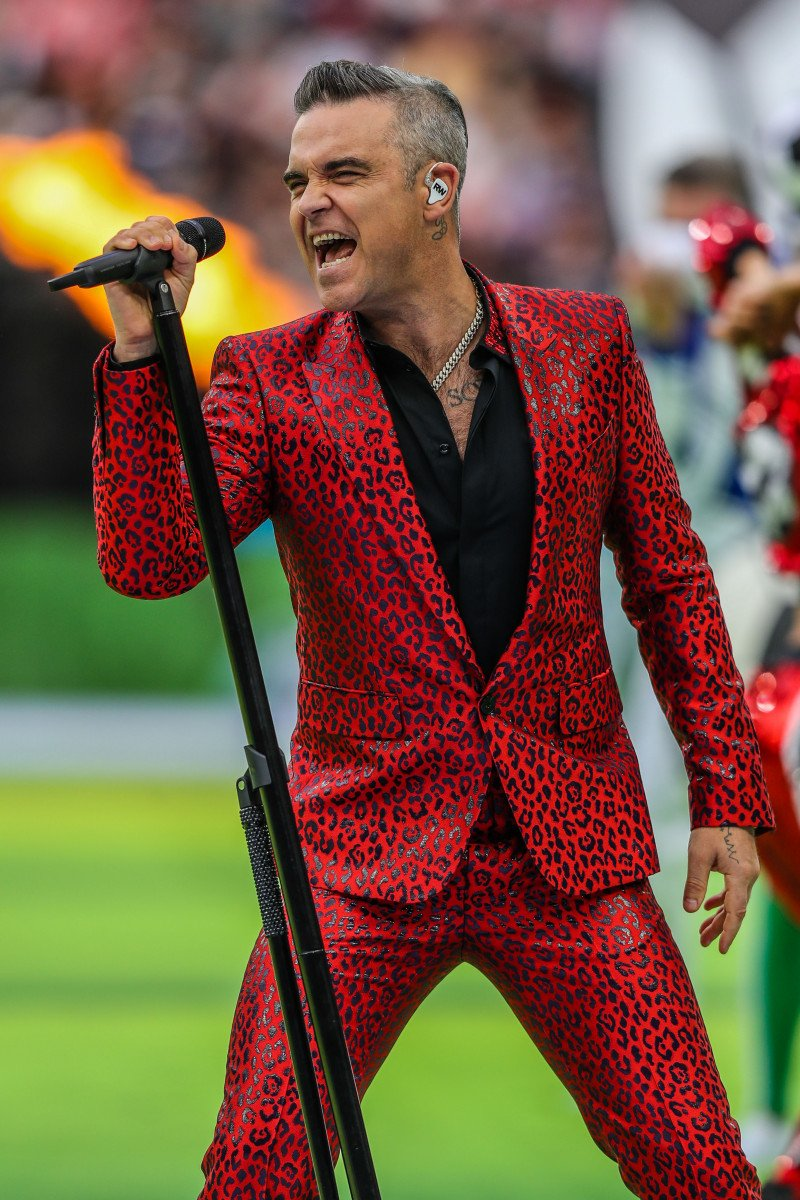Robbie Williams during the opening ceremony of the 2018 Russia World Cup before the match between Russia and Saudi Arabia at Luzhniki Stadium in Moscow in Russia