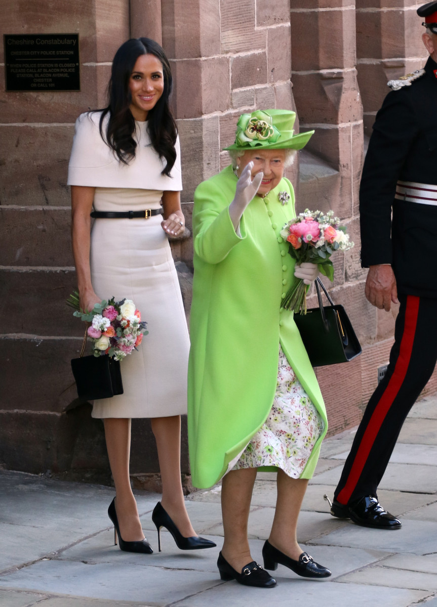 HM Queen Elizabeth II and Meghan Markle, Duchess of Sussex, visit Chester on their first public engagement together. Chester, Cheshire, on June 14, 2018.